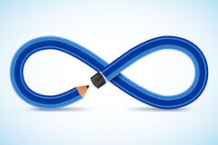 3d image Conceptual pencil, infinity symbol. Vector image Conceptual blue pencil, infinity symbol royalty free stock images