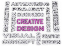 3d image Creative Design  issues concept word cloud background Royalty Free Stock Photography