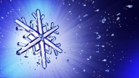 3d image of crystal snowflake against blue background Stock Photo
