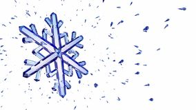 3d image of crystal snowflake against white background stock illustration