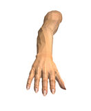 3D image of faceted human hands on white. Background stock illustration