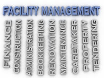3d image Facility management concept word cloud background.  Stock Photography