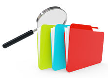 3d image of a file folder. With a magnifier glass Stock Images