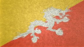3D image of the flag of Bhutan. The white dragon in the center is the indistinguishable symbol. The main colors are yellow and orange Stock Photos