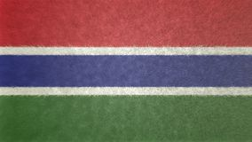 3D image of the Gambia flag. 3D image of the flag of Ghana. The black star in the center and the three colors, red, blue, green and white, characterize the flag Stock Photo