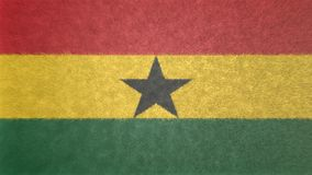 3D image of the flag of Ghana. The black star in the center and the three colors, red, yellow, green. The symbol that characterizes the flag Royalty Free Stock Image