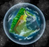 Imaginary cubical planet. 3d image of a habitable alien planet made in retro voxel style. Shaped like a cube, it is surrounded with atmosphere and lots of stars Royalty Free Stock Photo