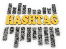 3d image Hashtag concept word cloud background Stock Photo