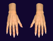 3D image of human hands. Isolated on dark background stock illustration