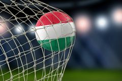 Hungarian soccerball in net. 3d image of Hungarian soccerball in net Royalty Free Stock Image