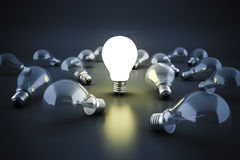 3d image of light bulb, creativity concept Stock Images