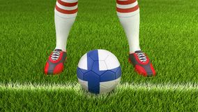 Man and soccer ball  with Finnish flag. 3d Image of Man and soccer ball  with Finnish flag Royalty Free Stock Photo