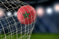 Moroccan soccerball in net. 3d image of Moroccan soccerball in net Stock Images