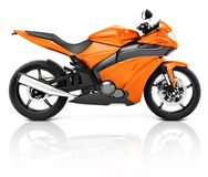 3D Image of an Orange Modern Motorbike.  Royalty Free Stock Photography