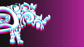 3D image of a part of a rhinoceros. Which consists of patterns of red, light blue, white and pink. Against the background of black and purple vector illustration