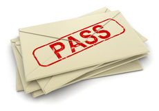3d image of Pass letters Royalty Free Stock Photo