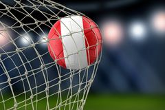 Peruvian soccerball in net. 3d image of Peruvian soccerball in net Royalty Free Stock Photo