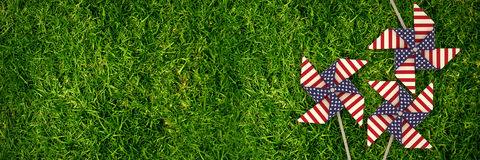 Composite image of 3d image of pinwheel toy with american flag pattern Stock Photo