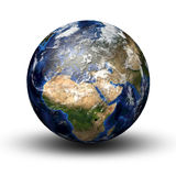 3D image of planet Earth. With shadow  on white. View to Europe and Africa Royalty Free Stock Photography