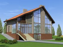 Modern family country house. 3d image of the project of a small apartment house Royalty Free Stock Image