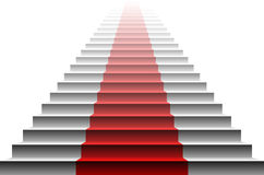 3d image of red carpet on white stair. stairs red Royalty Free Stock Image