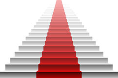 3d image of red carpet on white stair. stairs red Stock Image