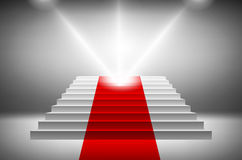 3d image of red carpet on white stair vector Stock Images
