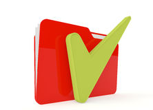 3d image of red file folder with a right sign. On white Stock Photo