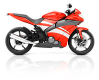 3D Image of a Red Modern Motorbike.  Stock Photos