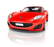 3D Image of Red Sport Car.  Royalty Free Stock Images