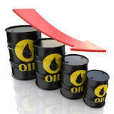3D image showing graph of decreasing oil prices Royalty Free Stock Photos