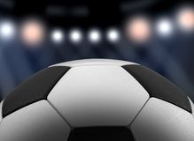 3d image of Soccerball. On searchlight background Royalty Free Stock Photo