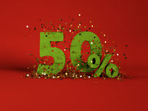 3d image of spring 50 % discount symbol. On red background Stock Image