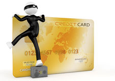 3d image, thief stealing a credit card Royalty Free Stock Photo
