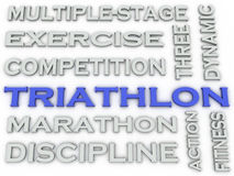 3d image Triathlon issues concept word cloud background Royalty Free Stock Image