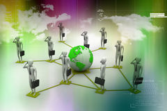 3d image of virtual men on global connection Royalty Free Stock Image