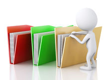 3d image. White people examines folders. Royalty Free Stock Photos