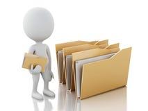 3d image. White people examines folders. Royalty Free Stock Image
