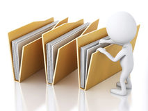 3d image. White people with yellow folders. Stock Images
