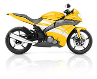 3D Image of a Yellow Modern Motorbike.  Royalty Free Stock Photography