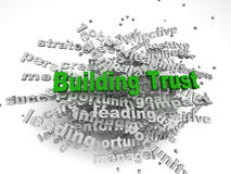 3d imagen大厦在词标记云彩的信任概念在白色后面 免版税库存图片