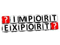 3D Import Export Button Click Here Block Text. Over white background Stock Photos