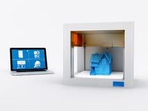 3d impresora, casa de impresión. Imagen de archivo libre de regalías