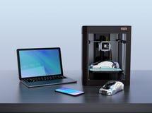 3D impresora, PC del ordenador portátil Fotos de archivo libres de regalías
