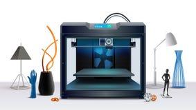 3d impresora Realistic Composition ilustración del vector
