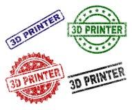 3D IMPRESORA texturizada Grunge Stamp Seals ilustración del vector