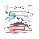 3D impressão, exploração que modela o conceito do vetor do processo da tecnologia na linha na moda com estilo liso da cor do incl ilustração stock