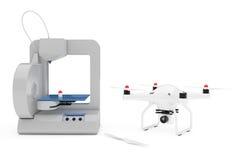 3D impressora Printing Quadrocopter Drone rendição 3d Foto de Stock Royalty Free