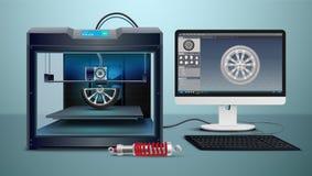 3d imprimant la composition isométrique illustration de vecteur