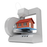3D imprimante industrielle Prints une construction de logements rendu 3d Photos libres de droits